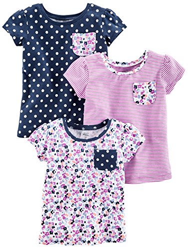 Girls Tops Com (Simple Joys by Carter's Baby Girls' Toddler 3-Pack Short Sleeve Tops, Purple Stripe, Floral, Navy Dot,)