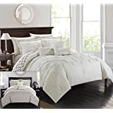 Chic Home 10 Piece Dorothy Pinch Pleated Ruffled and Reversible Geometric Design Printed Bed in a Bag Comforter Set, Queen, Beige