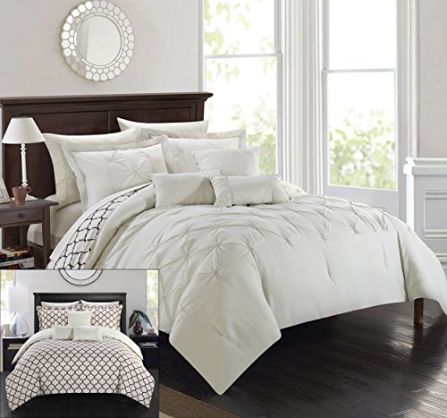 Chic Home 10 Piece Dorothy Pinch Pleated Ruffled and Reve...