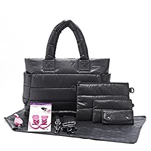 CiPU Baby Diaper Bag - Designer Diaper Totes - Baby Changing Pad - Color Style Tote - Weightless on Your Shoulder & Waterproof - L Black