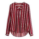 iQKA Women Long Sleeve Stripe Chiffon Blouse V-Neck Loose Casual Shirt High Low Top(Wine,X-Large)