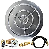 Dreffco 36 Inch NG Stainless Steel Burner Pan and Ring Complete Fire Pit Kit