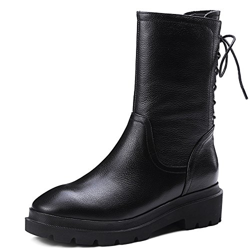 Boots Toe Handmade Ankle Round Women's Leather Nine Genuine Heel Black Black Lace Comfort Up Seven Low Rqw6qST