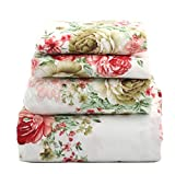 floral queen sheets - jaycorner 1800 Series Beautiful Bedding Super Soft Egyptian Comfort Sheet Set Cottage Floral Red & Olive (Queen)