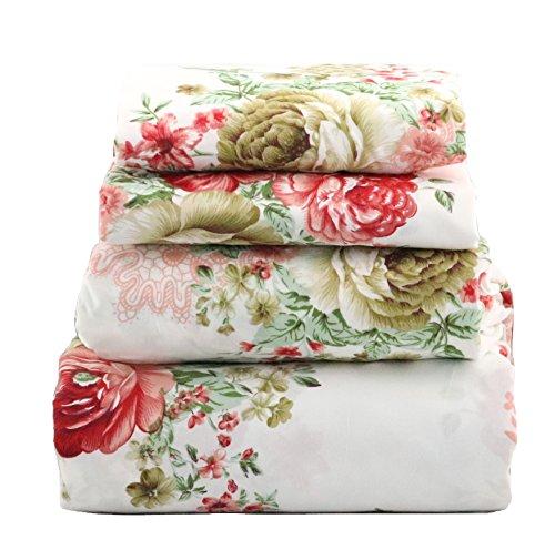 jaycorner 1800 Series Beautiful Bedding Super Soft Egyptian Comfort Sheet Set Cottage Floral Red & Olive -