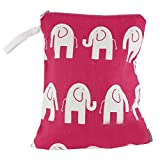Logan + Lenora Classic Wet Bag - Medium Cloth Diaper Wet Bag - Beach, Pool, Gym Bag for Swimsuits or Wet Clothes - Made in USA -Waterproof (Pink Elephant)