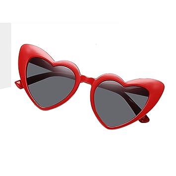 AOLVO con Forma de corazón Gafas de Sol, Retro Cute Ligero Marco de plástico Gafas HD Espejo para Las Mujeres/niñas UV400 Negro, C5, Talla única