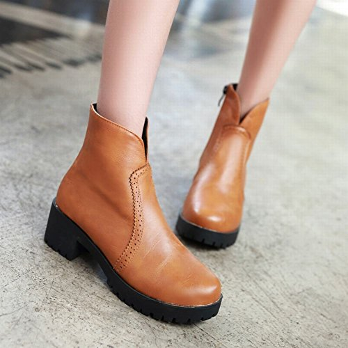 Carolbar Womens Zipper Fashion Vintage British Style Retro Chunky Mid Heel Short Boots Giallo