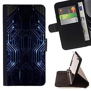 Momo Phone Case / Flip Funda de Cuero Case Cover - Líneas PCB azul;;;;;;;; - HTC DESIRE 816