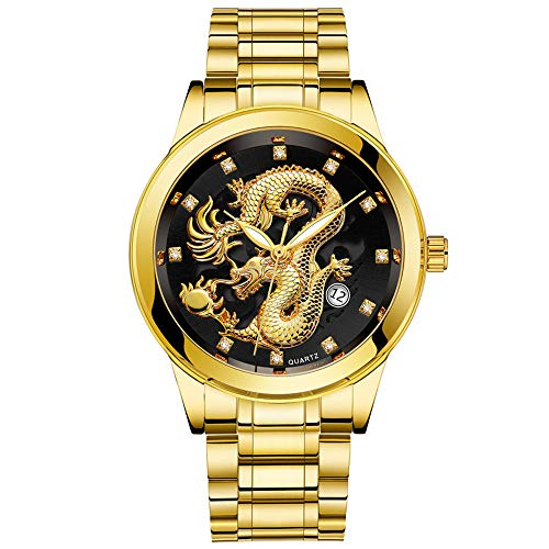 - Mens Quartz Watch, Coerni Waterproof Gold Dragon Sculpture Wrist Watch Luxury Wristwatch (Black-C)