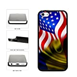 BleuReign(TM) Romania And USA Mixed Flag Plastic Phone Case Back Cover Apple iPhone 5c