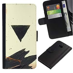 LECELL--Cuero de la tarjeta la carpeta del tirón Smartphone Slots Protección Holder For HTC One M8 -- Negro Triángulo --