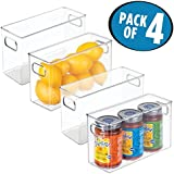 "mDesign Refrigerator, Freezer, Pantry Cabinet Organizer Bins for Kitchen - Pack of 4, 10"" x 4"" x 6"", Clear"