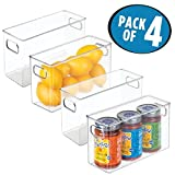 mDesign Refrigerator, Freezer, Pantry Cabinet Organizer Bins for Kitchen - Pack of 4, 10'' x 4'' x 6'', Clear