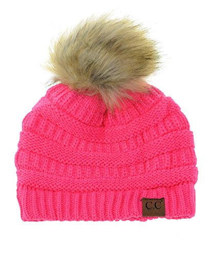 - NYFASHION101 Exclusive Soft Stretch Cable Knit Faux Fur Pom Pom Beanie Hat - Candy Pink