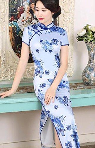 Cinese Spaccatura Coolred As3 Stampa Seta Stare Stile Qipao Abiti Collare donne Di 4qTSqngx