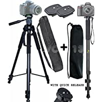 Professional 72-inch Tripod 3-way Panhead Tilt Motion with Built In Bubble Leveling for Canon, Nikon, Sony, Pentax, Sigma, Fuji, Olympus, Panasonic, JVC, Samsung Cameras,Camcorders + 2 Quick Release Plates + 72 Monopod & 2 carrying case