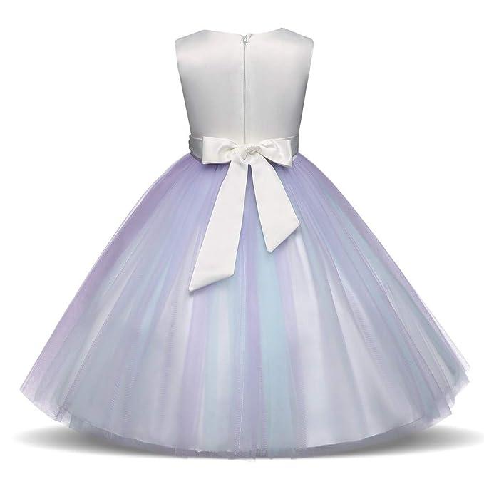323882df68398 BaZhaHei Robe Bebe Fille Bapteme Enfant Filles Dentelle Florale Performance  de Mariage Princesse Tenue Vestimentaire Formelle 18 Mois 2-6 Ans   Amazon.fr  ...