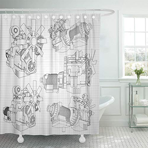 Emvency Shower Curtain White Car Big Diesel Engine The Truck Depicted Shower Curtains Sets with Hooks 60 x 72 Inches Waterproof Polyester Fabric
