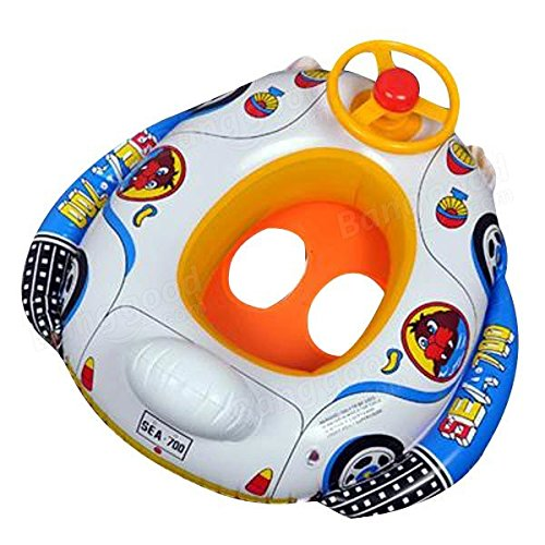 dipshop Kids Baby Inflatable Pool Seat Float Boat Swimming Wheel Horn