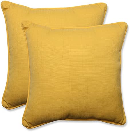 Pillow Perfect Outdoor Indoor Forsyth Soleil Square Corner Seat Cushions, 18.5 x 18.5 , Yellow, 2 Pack