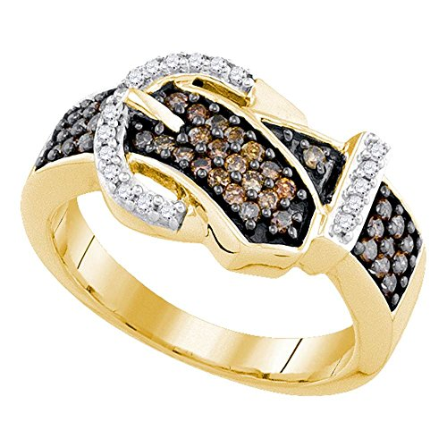 Buckle Brown Diamond Ring - Size - 6 - Solid 10k Yellow Gold Round Chocolate Brown and White Diamond Channel Set Buckle Fashion Ring (1/2 cttw)