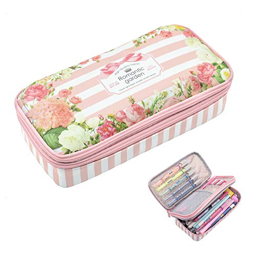 (Twinkle Club Big Capacity Pencil Pen Case Bag Pouch Holder for Middle High School College Office Girl Storage Pink)