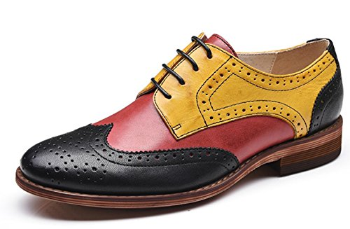 U-lite Red Yellow Black Perforated Lace-up Wingtip Leather Flat Oxfords Vintage Oxford Shoe Women RYB 9 ()