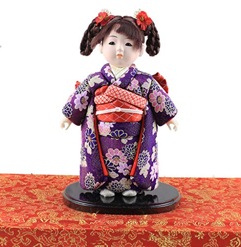 Heartrace 24cm Handmade Doll Japanese Hina gofun Art Ichimatsu Doll Figurine Collectibles for Birthday House Office Decor