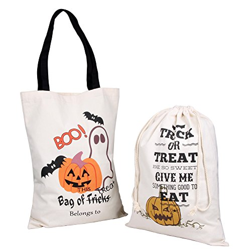 TGS Gems Halloween Candy Bags Durable Canvas Bags or Halloween Treat Bags for Kids | 2 PCs | 1 Drawstring Trick-or-Treat Bag (19.2