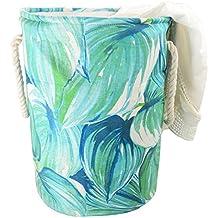 "Caroeas Extra Large 19.7"" Leaf Laundry Basket Stylish Double Layer Canvas Storage Hamper Round Laundry Bin Thick Bag Zakka Organizer for Bathroom, Bedroom, Dormitory"