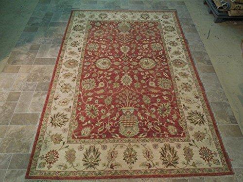 Persian Wool Vase - Floral Vase Persian SAROUK Inspired Hand Woven 6 x 10 Vegetable Dyed Chobi Rug