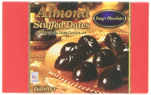 Price comparison product image Lang's Chocolates Dark Chocolate Almond Stuffed Dates Certified Kosher-dairy and Halal,  12-Count Packages (Pack of 2)