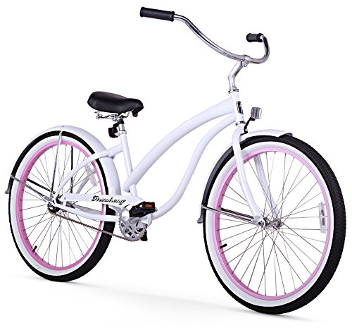 Firmstrong Bella Fashionista Single Speed Beach Cruiser Bicycle, 26-Inch, White w/ Pink Rims