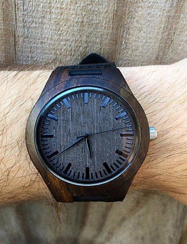 sbsghdx® El Ébano Reloj de madera real oscuros, grabado Madera Reloj, regalo para él, Hombres Madera Reloj: Amazon.es: Relojes