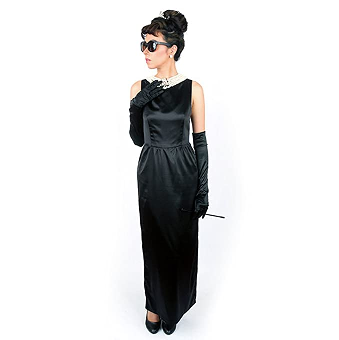 Kids 1950s Clothing & Costumes: Girls, Boys, Toddlers Utopiat Satin Black Dress & Accessory Women Audrey Hepburn Breakfast at Tiffany $130.99 AT vintagedancer.com