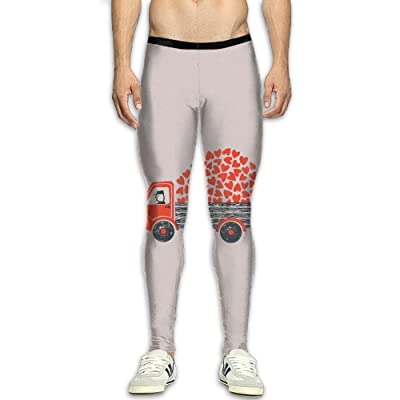 JJP1CO Men's Compression Pants The Truck Full of Love 3D Print Baselayer Cool Dry Sports Thermal Tights Running Fitness