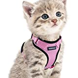 Cat Harness Small Dog Harness Escape Proof Adjustable Small Dogs Cats Vest Harnesses - No Choke No Pull Design for Best Safety and Comfort - Soft Mesh Kitten Puppy Harness with Leash Clip and Reflective Strips, Small, Pink