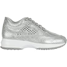 Hogan Women's Shoes Leather Trainers Sneakers Interactive Silver