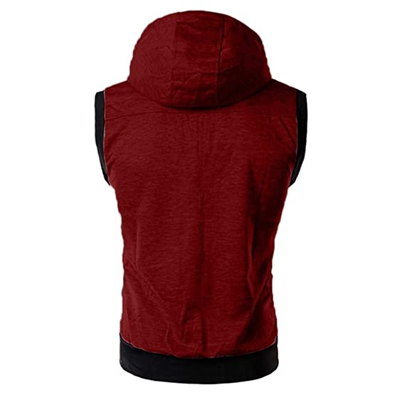 Amazon.com: Easytoy Mens Slim Fit Sleeveless Sweatshirt Lightweight Zip-up Hooded Vest with Zipper Trim Hoodies Top: Sports & Outdoors
