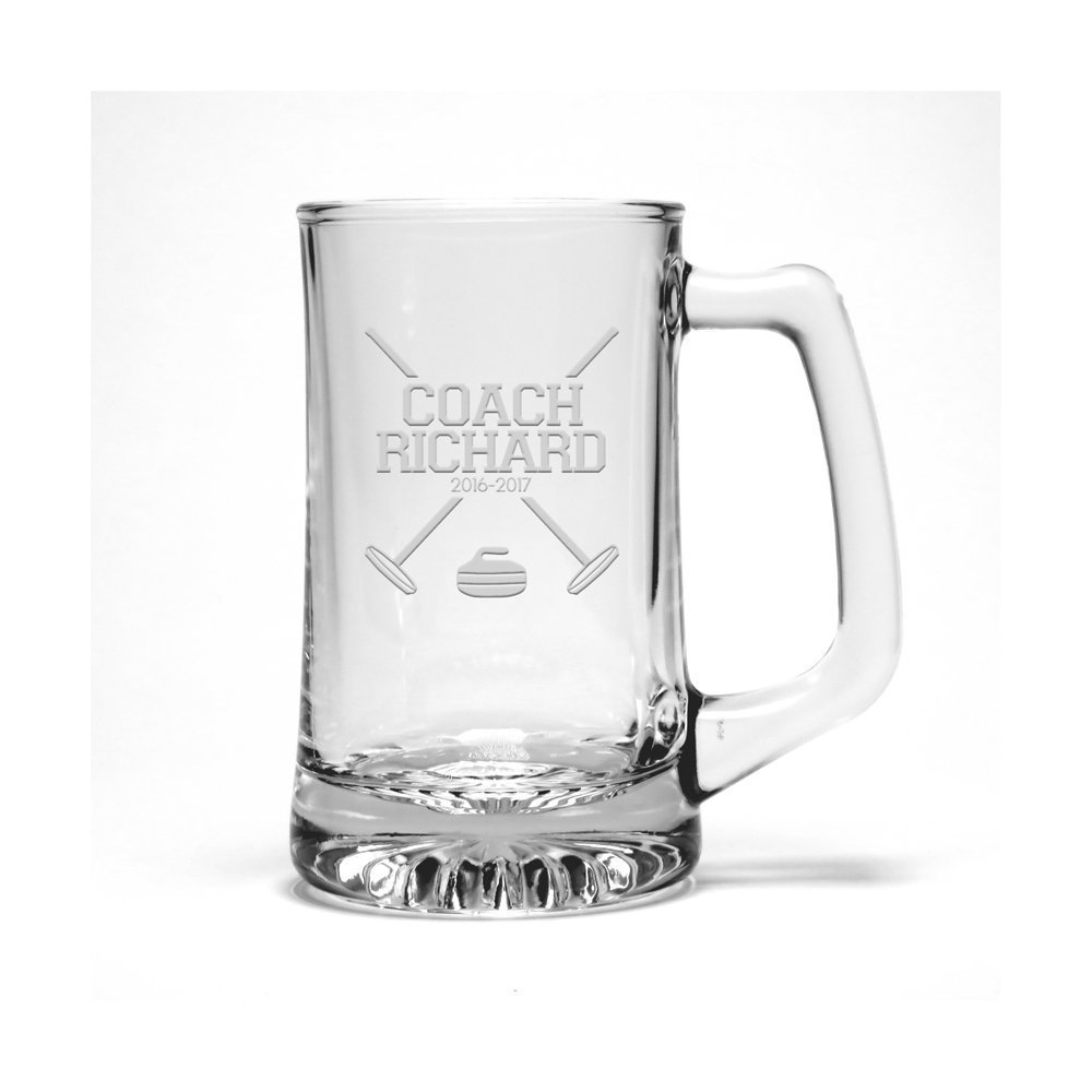 Personalized Curling Coach Etched Beer Mug - Sports Beer Glass