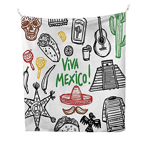 Polyester Fabric Wall Decor (51W x 60L INCH Wall Hanging Bedroom Living Room Dorm Home Decor TapestryMexican Decorations Sketch Latin Object Burritos Guitar Tequila Bottle Pinata Quetzal Coati -