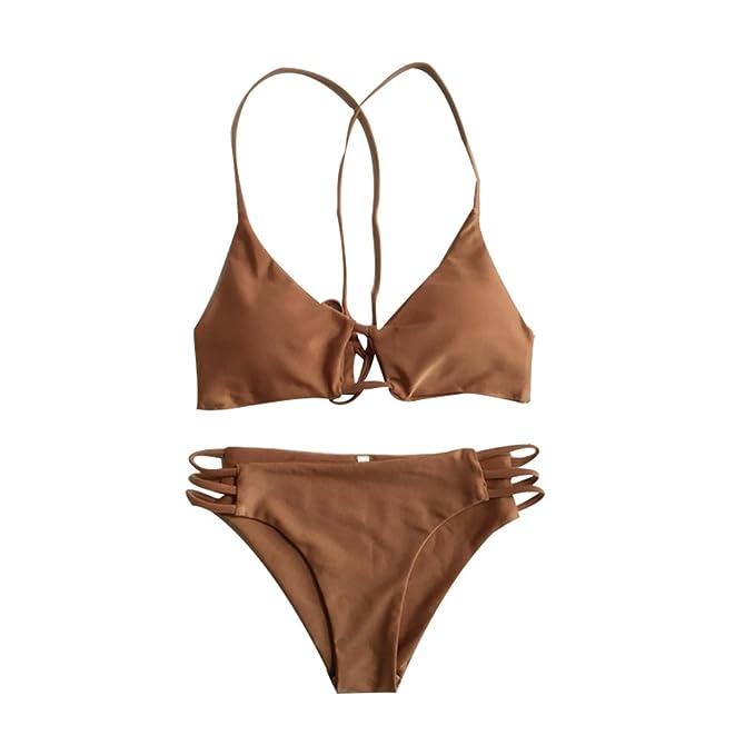Hrph Bikiní de la palabra de honor Triángulo Sujetador Push-Up de trajes de baño del traje de baño Set de baño de las nuevas mujeres atractivas: Amazon.es: ...