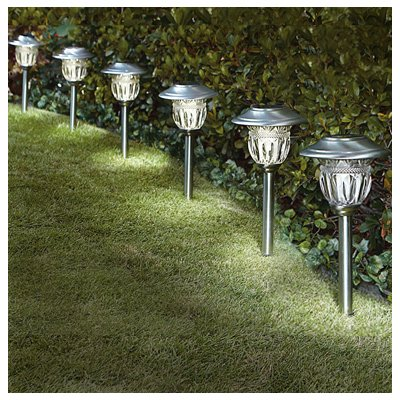 Sterno Home TV28568SS6 Solar Path Lights, Stainless Steel, 6-Pk. - Quantity 4