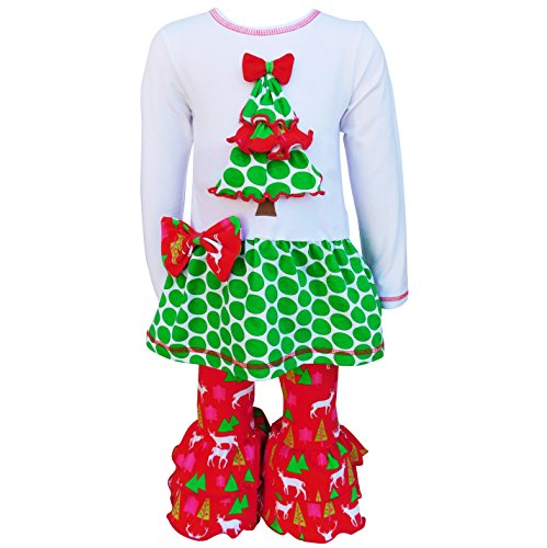 (AnnLoren Tween Girls 9/10 Christmas Tree Polka Dots Tunic Pants Holiday)