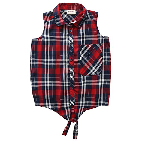 Big Girls Sleeveless Woven Plaid Button Down Shirts with Collar Red Black Navy Color (14 Years, Navy 7313) ()
