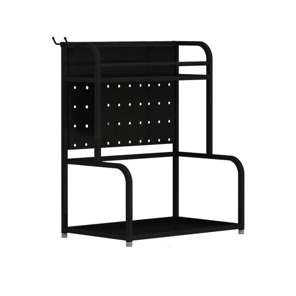 WLNKJ Kitchen Storage Rack Bracket, Floor-Standing 2-Layer Seasoning Storage Rack, Stainless Steel Multi-Function Kitchen Seasoning Rack - Black,a,30cm