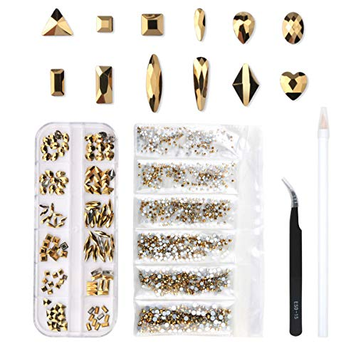 120 Pcs Multi Shapes Glass Crystal AB Rhinestones For Nail Art Craft, Mix 12 Style FlatBack Crystals 3D Decorations Flat Back Stones Gems Set (Gold,120 pcs Crystals+1728 pcs rhinestones) (Gold Nail Charms)