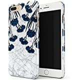 Blue Cornflower White Marble Floral Print Pattern Fashion Designer Thin Design Durable Hard Shell Plastic Protective Case For Apple iPhone 7 Plus / iPhone 8 Plus