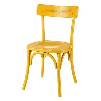 Silla de Abedul Amarilla de Comedor Vintage para salón Iris ...
